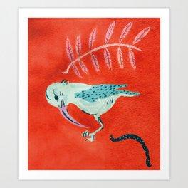 Tropical Jungle Blue Bird Art Print