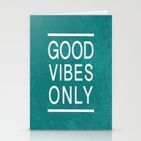 good vibes only Stationery Cards featuring Good Vibes Only by Jenna Davis Designs