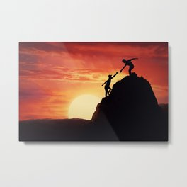 two friends teamwork Metal Print