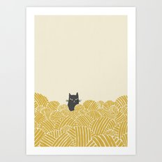 Cat and Yarn Art Print