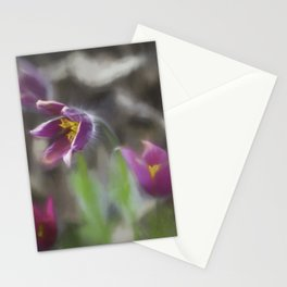 purple pasque flower Stationery Cards