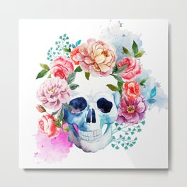 Watercolor skull & flowers Metal Print