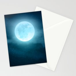 Realistic full moon on night sky with clouds Stationery Cards
