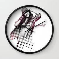 miley cyrus Wall Clocks featuring Miley Cyrus by mileyhq