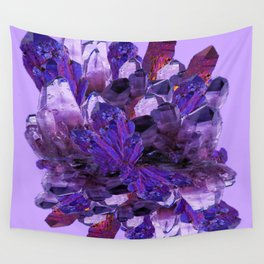 FEBRUARY PURPLE AMETHYST CRYSTAL CLUSTER GEMS Wall Tapestry