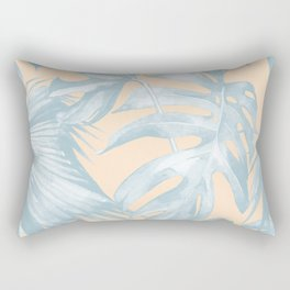 Tropical Plants Blue on Peach Coral Rectangular Pillow