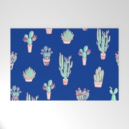 Little cactus pattern - Princess Blue Welcome Mat