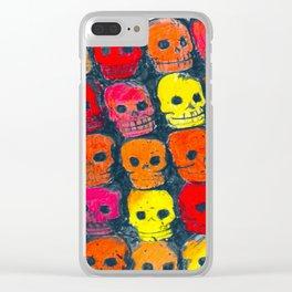 colorful  skulls ceramic vase Clear iPhone Case