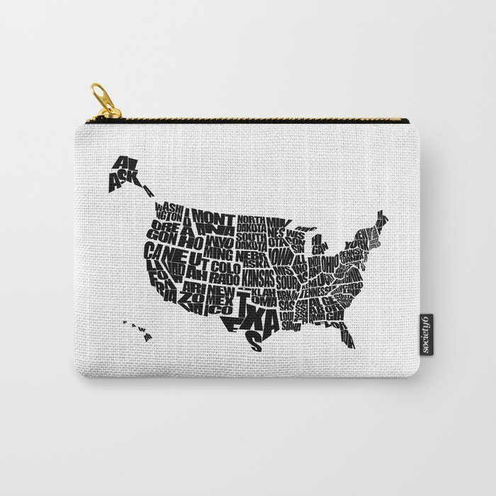 Usa Word Map Black And White Carry All Pouch By Inkofmegraphics