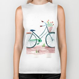 watercolor vintage bike, floral bicycle, summer bike ride Biker Tank