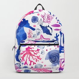 Hand painted blush pink blue watercolor nautical sea pattern Backpack
