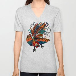 rooster ink turquoise Unisex V-Neck