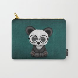 Cute Panda Bear Cub with Eye Glasses on Teal Blue Carry-All Pouch