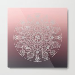 White Lace Flowers and Leaves Boho Floral Mandala on Dusty Rose Pink Metal Print