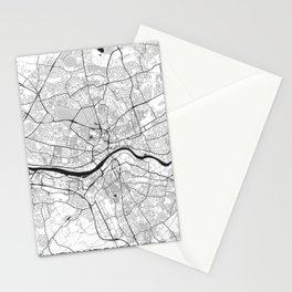 Newcastle upon Tyne Map Gray Stationery Cards