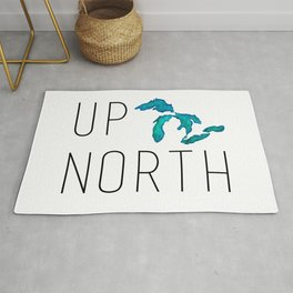 UP NORTH with watercolor great lakes Rug