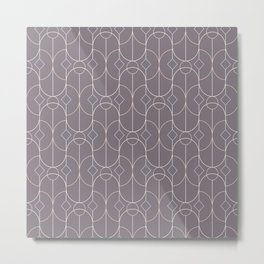 Contemporary Bowed Symmetry in Aubergine Metal Print