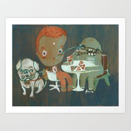 Eating pizza Art Print