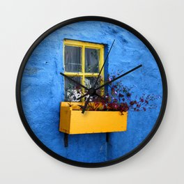 FLOWER - BOX - YELLOW - BLUE - WALL - PHOTOGRAPHY Wall Clock