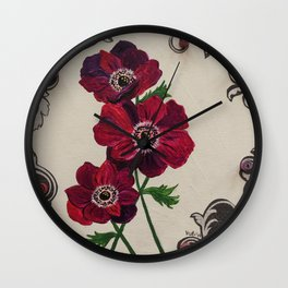 Purple Poppies Wall Clock