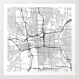 Columbus Map, USA - Black and White  Art Print