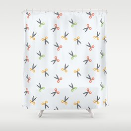 Scissors colored Shower Curtain