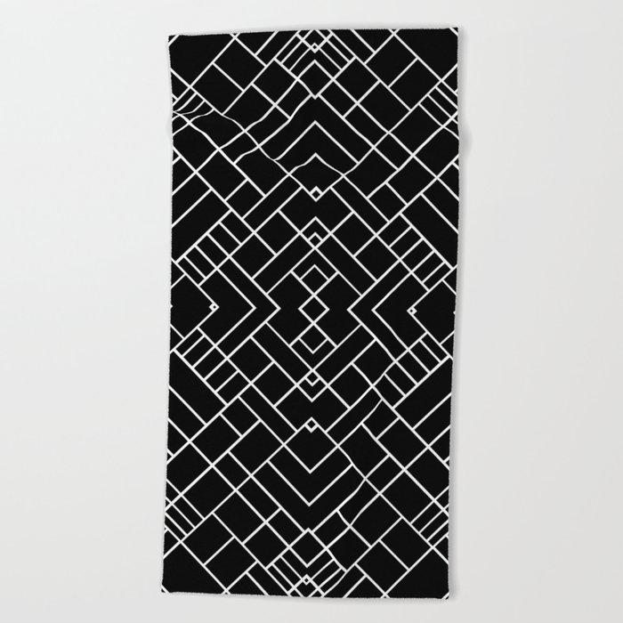 PS Grid 45 Black Beach Towel