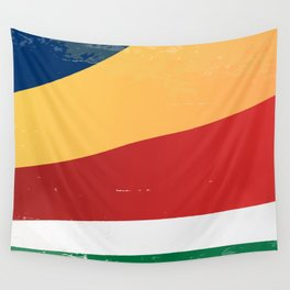 Seychelles Grunge Flag Wall Tapestry