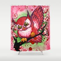 jojo Shower Curtains featuring Cherry Owl by JoJo Seames