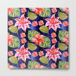 Tropical Pattern on a space background Metal Print
