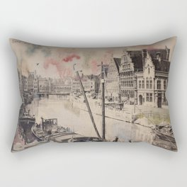 Ghent Painted Postcard Rectangular Pillow