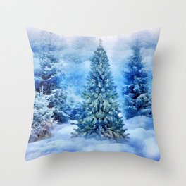 Christmas tree scene Throw Pillow