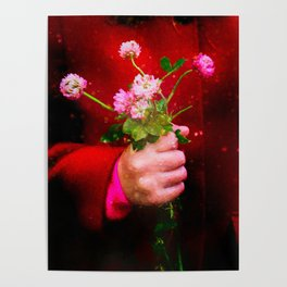 Girl holding wild clover flowers - by Brian Vegas Poster