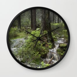 Mountains, forest, water. Wall Clock