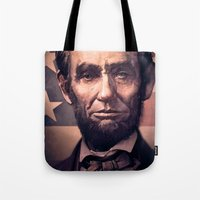 lincoln Tote Bags featuring Lincoln by Dominick Saponaro