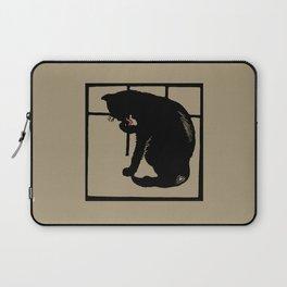 Black cat modern woodcut style Laptop Sleeve