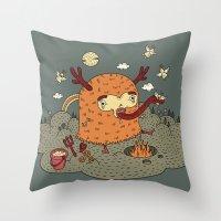 demon Throw Pillows featuring Demon by bulent gultek