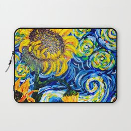 Gorgeous Blue and Yellow Van Gogh Sunflowers Laptop Sleeve