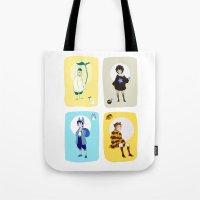 ghibli Tote Bags featuring Ghibli Gijinkas by TEAM JUSTICE ink.