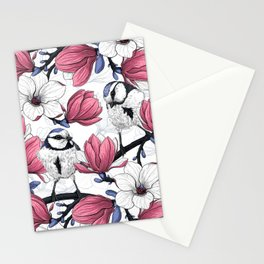 Pink magnolia and blue tit birds   Stationery Cards