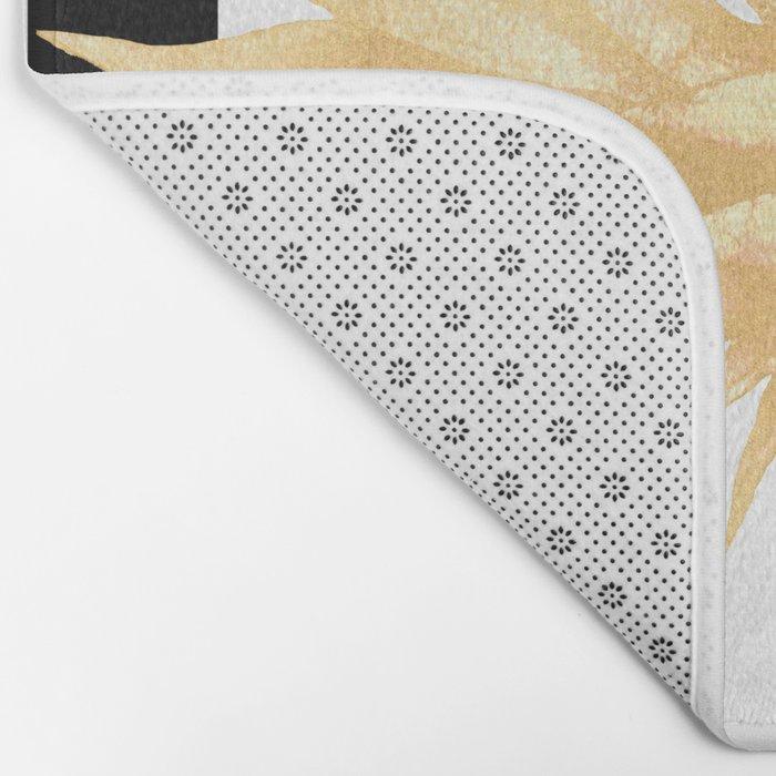 Gold Pineapple Black and White Stripes Bath Mat
