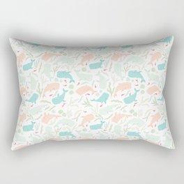 Pastel Whale Pattern Rectangular Pillow
