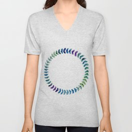 Watercolor Blue Gradient Floral Wreath Unisex V-Neck
