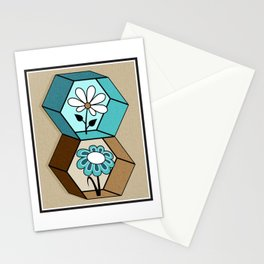 Cute Daisy Flowers in Hexagons - Turquoise, Brown, Khaki, Black and White Stationery Cards