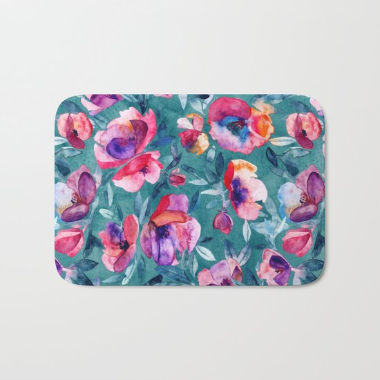 Flourish - a watercolor floral in pink and teal Bath Mat