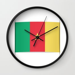 Flag of Cameroon.  The slit in the paper with shadows.  Wall Clock