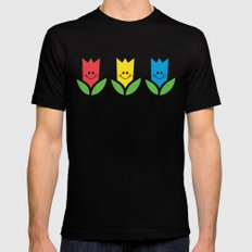 Flowers Of Primary Colors - Fleurs Aux Couleurs Primaires Black MEDIUM Mens Fitted Tee