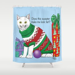 Holiday Sweater Cat Shower Curtain