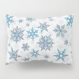 """""""Embroidered"""" Snowflakes on white canvas Pillow Sham"""