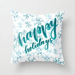Happy Holidays - teal Throw Pillow